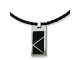 Chisel Stainless Steel Leather Cord Black Accent Necklace - 20 inches