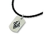 Chisel Stainless Steel Leather Cord Black Accent Necklace - 18 inches style: SRN128