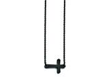 Stainless Steel Black Ip-plated Sideways Cross Necklace style: SRN1296