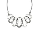 Chisel Stainless Steel Oval Antiqued With 3.5in Ext. Necklace style: SRN1309175