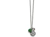 Chisel Stainless Steel Antiqued With 2in Extension Synthetic Jade Necklace style: SRN131020