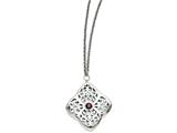 Chisel Stainless Steel Red Cz Square With 2in Ext. Necklace style: SRN131130