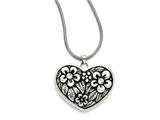 Chisel Stainless Steel Cz Antiqued Heart With 2in Ext. Necklace style: SRN1312295