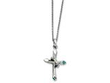 Chisel Stainless Steel Clear And Blue Crystal Cross Necklace style: SRN131518