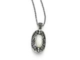 Chisel Stainless Steel Mother Of Pearl And Crystal Antiqued Necklace style: SRN132220