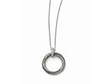 Chisel Stainless Steel Black/clear Cz Antiqued Circle Necklace style: SRN132718