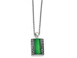 Chisel Stainless Steel Synthetic Jade Antiqued Rectangular Necklace style: SRN133020