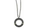 Chisel Stainless Steel Black Cz With Yellow Ip-plated  Antiqued Circle Necklace style: SRN133918