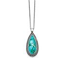 Chisel Stainless Steel Antiqued Imitation Turquoise Teardrop Necklace style: SRN134118