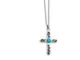 Chisel Stainless Steel Polished Imitation Turquoise Black Oil Cross Necklace style: SRN134320