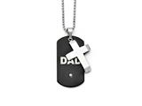 Chisel Stainless Steel Black Ip-plated Dog Tag With CZ Cross Necklace style: SRN134422