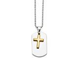 Chisel Stainless Steel Polished Dog Tag Yellow Ip-plated Brushed Cross Necklace style: SRN135122