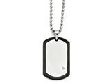 Chisel Stainless Steel Black Ip-plated With Cz Dog Tag Polished Necklace style: SRN135822