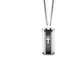 Chisel Stainless Steel Cross Black Ip-plated Polished Necklace style: SRN135922