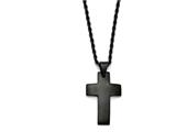 Chisel Stainless Steel Black Ip-plated Polished Cross Necklace style: SRN136120