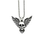 Chisel Stainless Steel Antiqued Skull With Wings Polished Necklace style: SRN136422