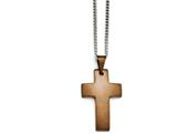 Chisel Stainless Steel Brown Ip-plated Brushed Cross Necklace style: SRN136522