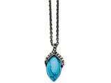 Chisel Stainless Steel Simulated Turquoise Marcasite Antiqued Necklace style: SRN137018