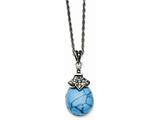 Chisel Stainless Steel Simulated Turquoise/marcasite Antiqued Necklace style: SRN137118