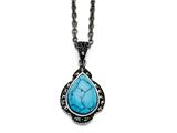 Chisel Stainless Steel Simulated Turquoise/marcasite Antiqued Necklace style: SRN137218