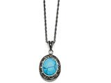 Chisel Stainless Steel Simulated Turquoise/marcasite Antiqued Necklace style: SRN137518
