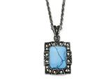 Chisel Stainless Steel Simulated Turquoise/ Marcasite Antiqued Necklace style: SRN137618