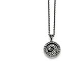 Chisel Stainless Steel Marcasite And Antiqued Swirl Necklace style: SRN137718