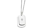 Chisel Stainless Steel Double Dog Tag With Cz Cross  Necklace style: SRN139520