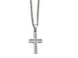 Chisel Stainless Steel Polished Grey Carbon Fiber Small Cross Necklace style: SRN140920
