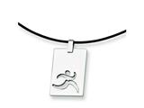 Chisel Stainless Steel Leather Cord Cut Out Necklace - 18 inches