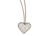 Chisel Stainless Steel Wired Pink Ip-plated Heart Polished Necklace style: SRN1416175
