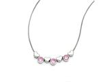 Chisel Stainless Steel Hearts/pink Czs With 1.25in Ext. Necklace style: SRN1417175