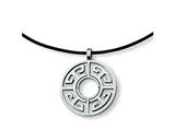 Chisel Stainless Steel Leather Cord Greek Key Necklace - 18 inches