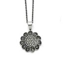 Chisel Stainless Steel Textured Flower Marcasite Necklace style: SRN143320