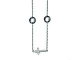 Stainless Steel And Ceramic Polished Sideways Cross Cz Necklace style: SRN1434