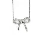 Chisel Stainless Steel Crystal Polished Bow With 1.75in Ext. Necklace style: SRN14481625