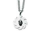 Chisel Stainless Steel Saw Blade with Skull Necklace