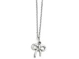 Chisel Stainless Steel Polished Bow With 1.75in Ext. Necklace style: SRN145116