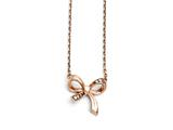 Chisel Stainless Steel Polished Cz Bow With 1.75in Ext. Necklace style: SRN145516