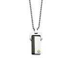 Chisel Stainless Steel Polished Yellow and Black Ip-plated  Dog Tag Necklace style: SRN146220