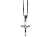 Chisel Stainless Steel Polished And Antiqued Crucifix Necklace style: SRN148220