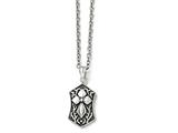 Chisel Stainless Steel Polished And Antiqued Cross Necklace style: SRN148420