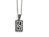 Chisel Stainless Steel Polished And Antiqued Treble Clef Necklace style: SRN148522
