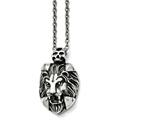 Chisel Stainless Steel Polished And Antiqued Lion And Skull Necklace style: SRN149022