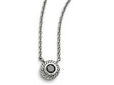 Chisel Stainless Steel Polished Black Cz Circle W/1in Ext. Necklace style: SRN150118