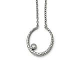 Chisel Stainless Steel Polished And Textured Cz W/2in Ext. Necklace style: SRN150518