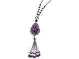 Chisel Stainless Steel Polished/antiqued Amethyst/cz W/2in Ext. Reversible Necklace style: SRN150624