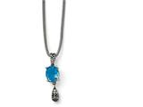 Chisel Stainless Steel Polished/antiqued Blue Glass W/2 In Ext. Necklace style: SRN1508185