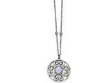 Chisel Stainless Steel Polished Synthetic Purple Calcedony W/2in Ext. Circle Necklace style: SRN151030