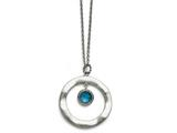 Chisel Stainless Steel Polished Blue Glass Circle W/ 2in Ext. Necklace style: SRN151218